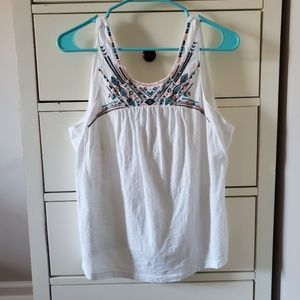Roxy open back tank top with embroidery